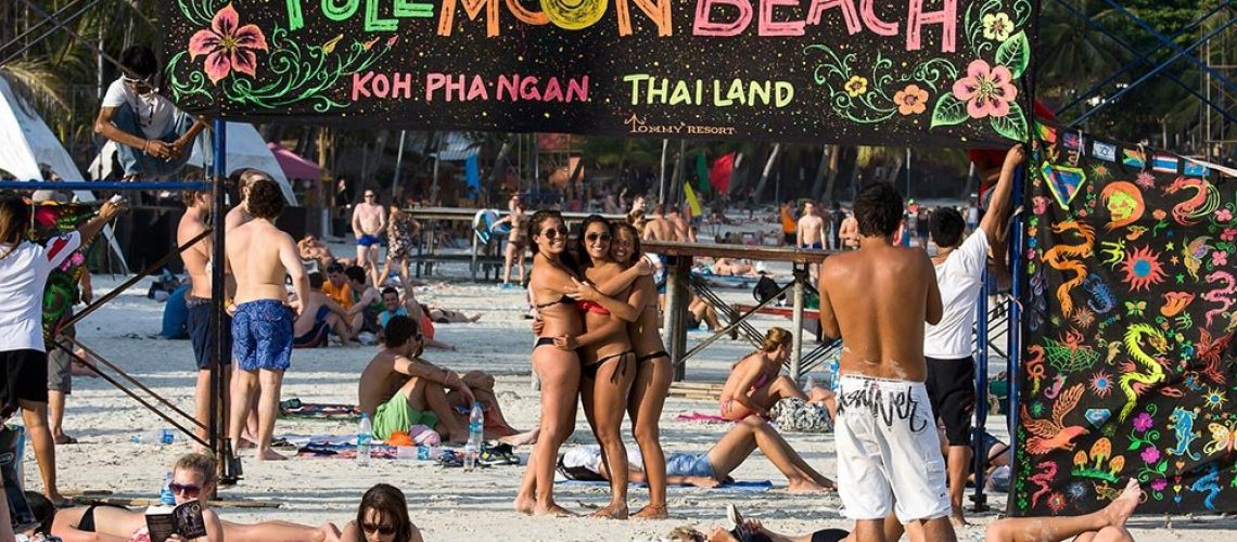 Full moon party in Koh Phangan , Thailand .